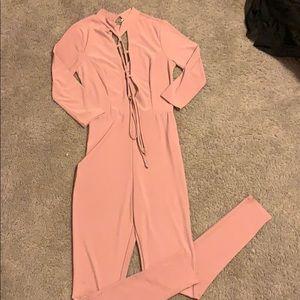 Mauve jumpsuit, open chest